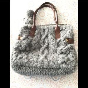 J.Crew Gray Wool Chunky Knit Pom Pom Tote